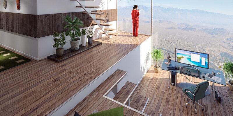 Lägenhetsinterör med utsikt över öken. Foto: Arek Socha.